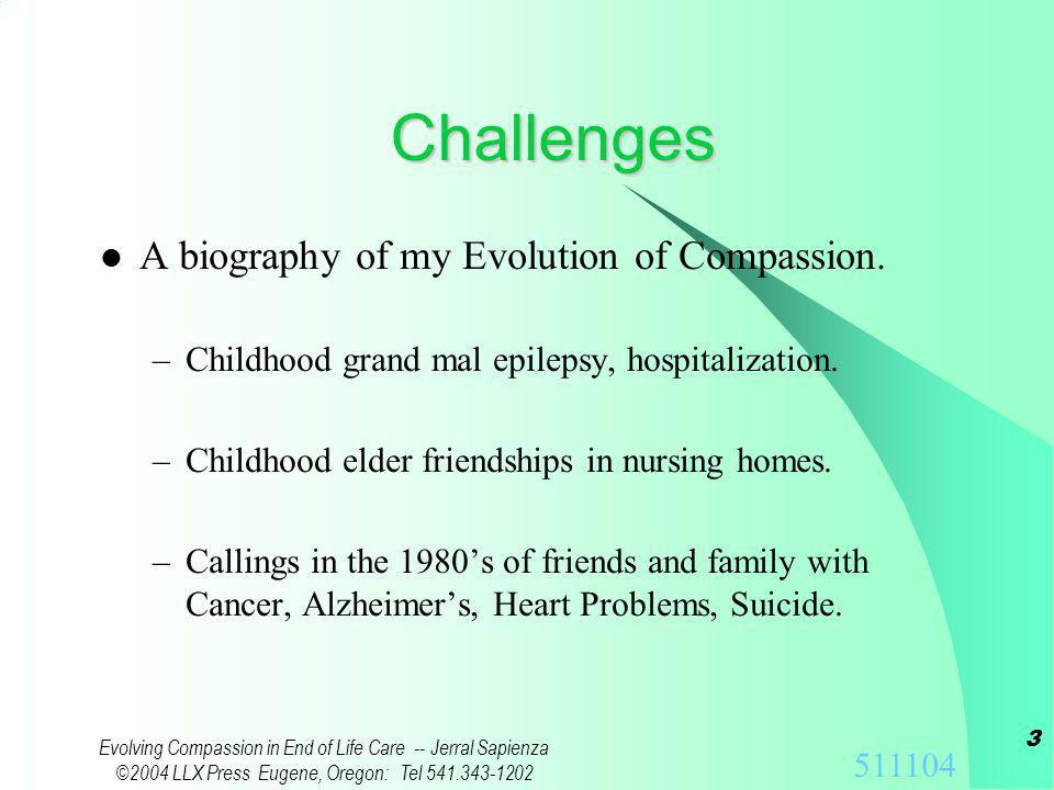 511104 Evolving Compassion in End of Life Care -- Jerral Sapienza ©2004 LLX Press Eugene, Oregon: Tel 541.343-1202 2 We Are...