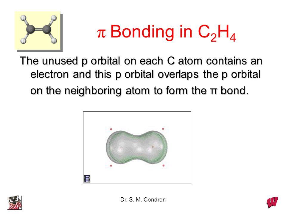 Dr. S. M. Condren π Bonding in C 2 H 4 The unused p orbital on each C atom contains an electron and this p orbital overlaps the p orbital on the neigh