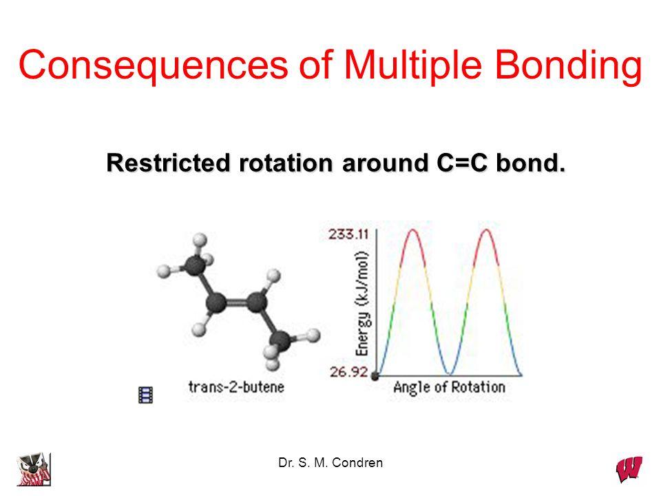 Dr. S. M. Condren Consequences of Multiple Bonding Restricted rotation around C=C bond.