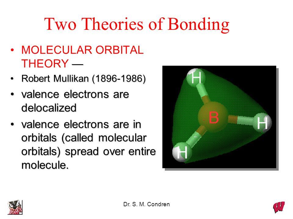 Dr. S. M. Condren MOLECULAR ORBITAL THEORY Robert Mullikan (1896-1986)Robert Mullikan (1896-1986) valence electrons are delocalizedvalence electrons a