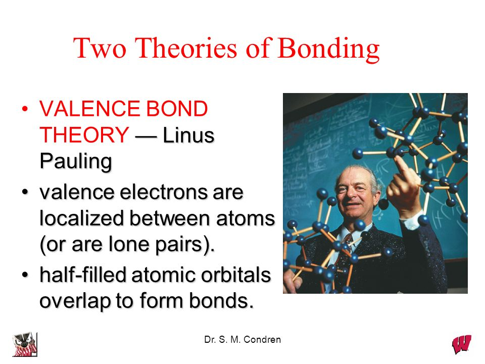Dr. S. M. Condren Two Theories of Bonding Linus PaulingVALENCE BOND THEORY Linus Pauling valence electrons are localized between atoms (or are lone pa