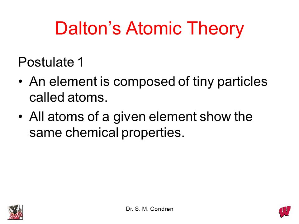 Dr. S. M. Condren Daltons Atomic Theory Postulate 1 An element is composed of tiny particles called atoms. All atoms of a given element show the same