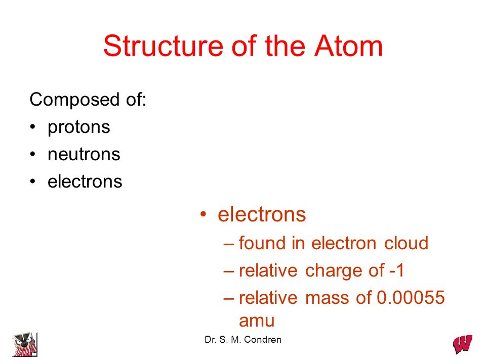 Dr. S. M. Condren Structure of the Atom Composed of: protons neutrons electrons –found in electron cloud –relative charge of -1 –relative mass of 0.00