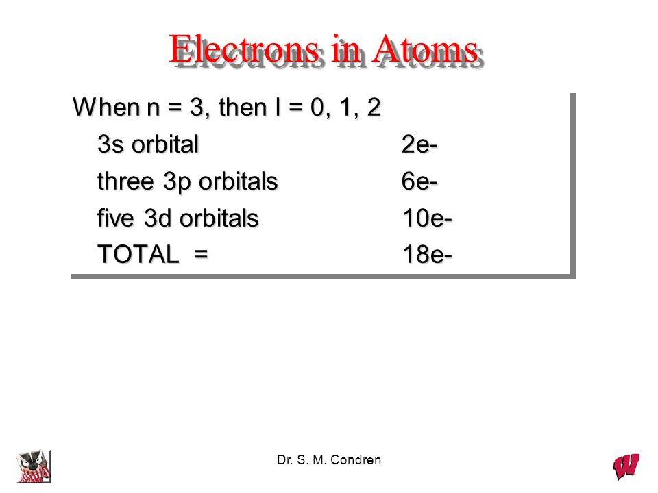 Dr. S. M. Condren Electrons in Atoms When n = 3, then l = 0, 1, 2 3s orbital 2e- 3s orbital 2e- three 3p orbitals6e- three 3p orbitals6e- five 3d orbi