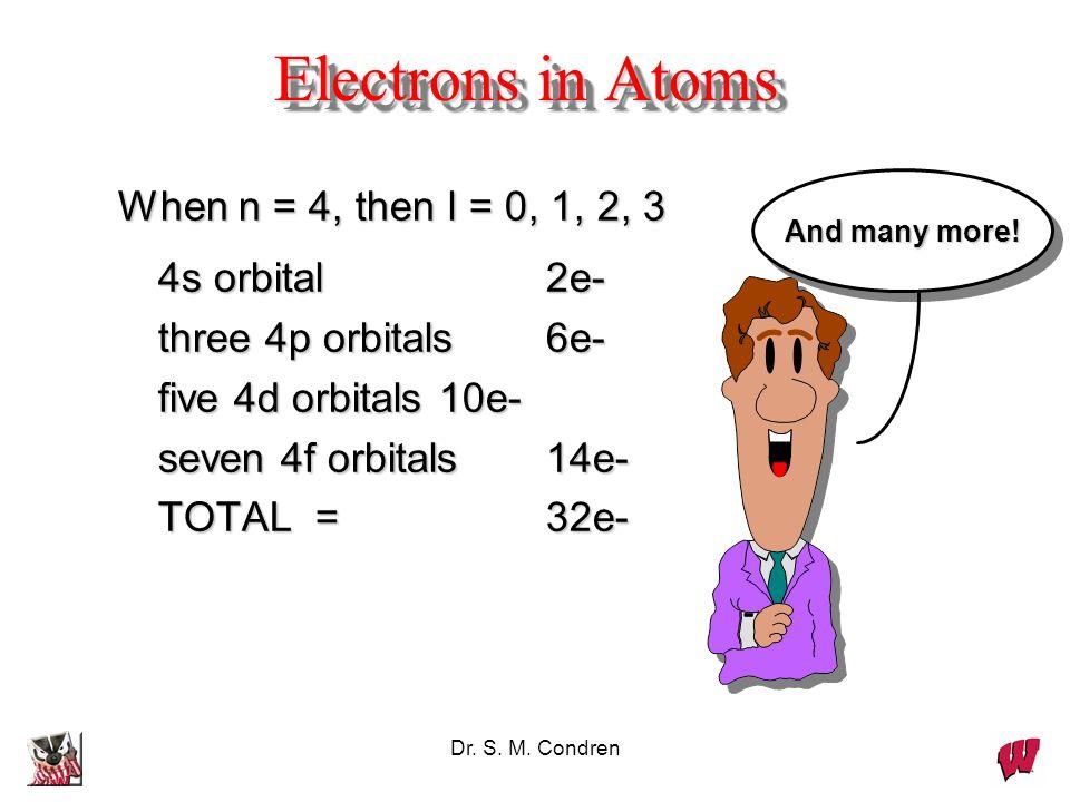 Dr. S. M. Condren Electrons in Atoms When n = 4, then l = 0, 1, 2, 3 4s orbital 2e- 4s orbital 2e- three 4p orbitals6e- three 4p orbitals6e- five 4d o