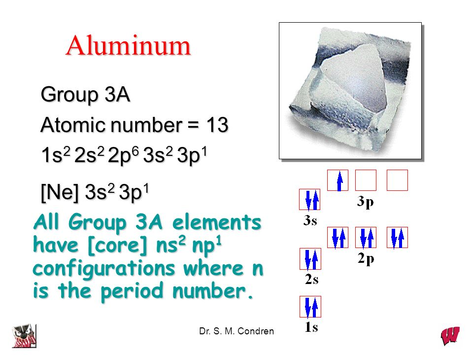 Dr. S. M. Condren Group 3A Atomic number = 13 1s 2 2s 2 2p 6 3s 2 3p 1 [Ne] 3s 2 3p 1 All Group 3A elements have [core] ns 2 np 1 configurations where