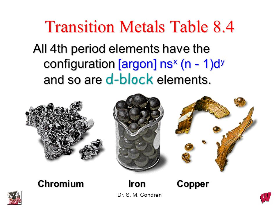 Dr. S. M. Condren All 4th period elements have the configuration [argon] ns x (n - 1)d y and so are d-block elements. CopperIronChromium Transition Me