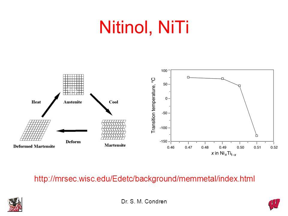 Dr. S. M. Condren Nitinol, NiTi http://mrsec.wisc.edu/Edetc/background/memmetal/index.html