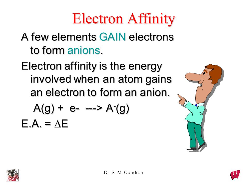 Dr. S. M. Condren Electron Affinity A few elements GAIN electrons to form anions. Electron affinity is the energy involved when an atom gains an elect