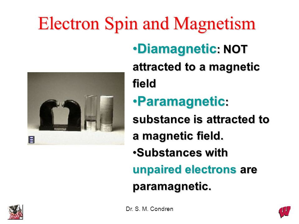 Dr. S. M. Condren Electron Spin and Magnetism Diamagnetic : NOT attracted to a magnetic fieldDiamagnetic : NOT attracted to a magnetic field Paramagne