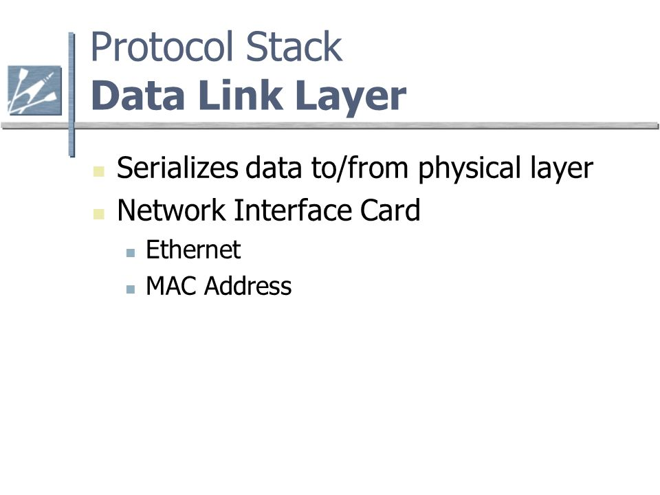 Protocol Stack Data Link Layer Serializes data to/from physical layer Network Interface Card Ethernet MAC Address