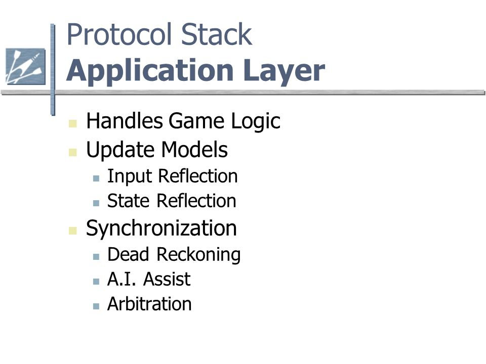 Protocol Stack Application Layer Handles Game Logic Update Models Input Reflection State Reflection Synchronization Dead Reckoning A.I.