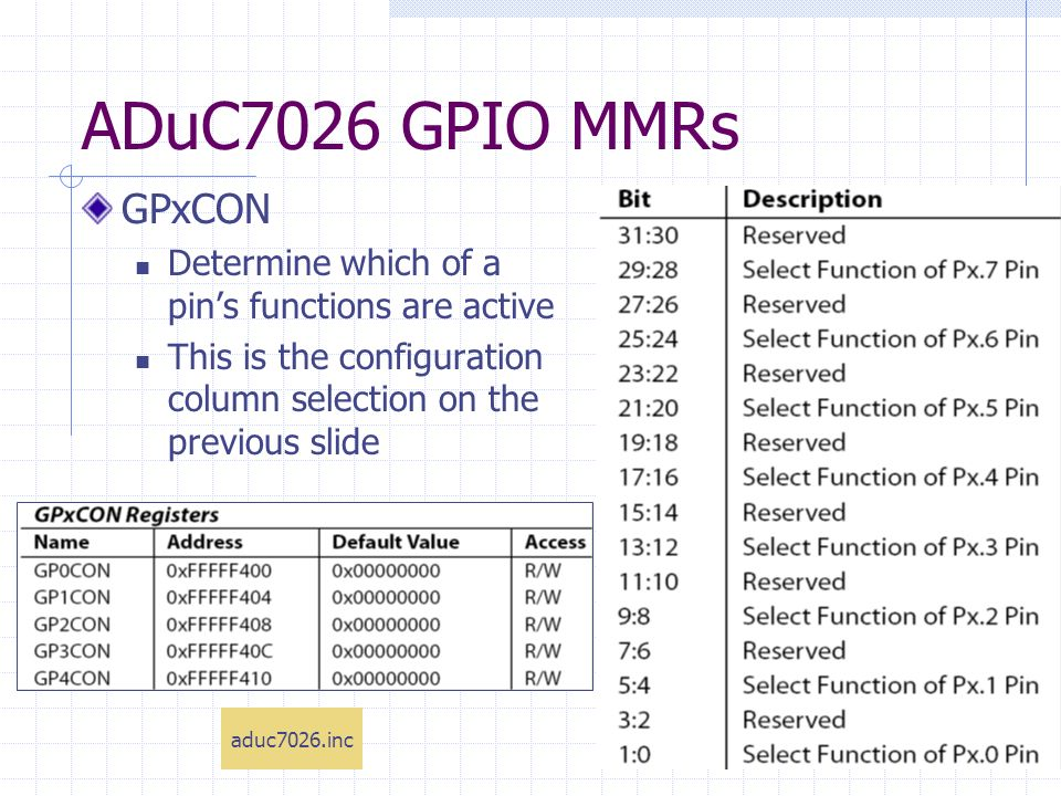 ADuC7026 GPIO MMRs GPxCON Determine which of a pins functions are active This is the configuration column selection on the previous slide aduc7026.inc