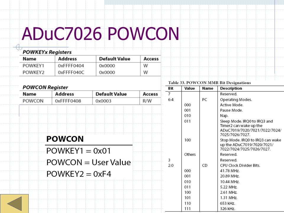ADuC7026 POWCON