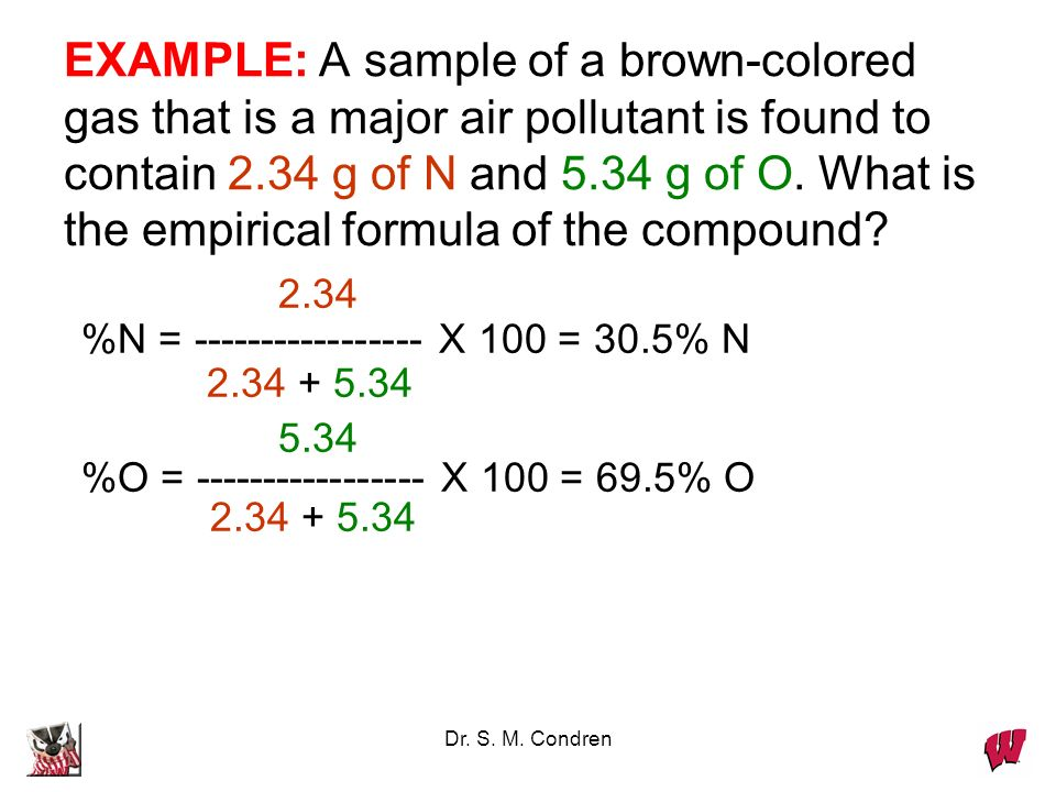 Dr. S. M. Condren Never round-off these numbers Always round-off here Example When analyzed, an unknown compound gave these experimental results: C, 5