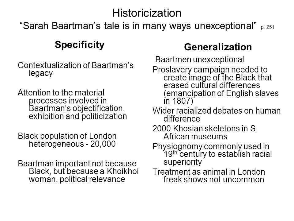 Formation of Imperial Collections Khoikhoi perceived as link between ape and human in natures great hierarchy (Typology, classification, emphasis on purity, Morris - known in life) Colonializing perceived to benefit indigenous peoples Network of suppliers and consumers in animal trade – Dunlap (surgeon) collected Baartman in 1810 Offered Baartman to Bullock, collector and later proprietor of Egyptian Hall Sold to Hendrick Cezar, a showman in London Cezar sold Baartman to animal trainer S.