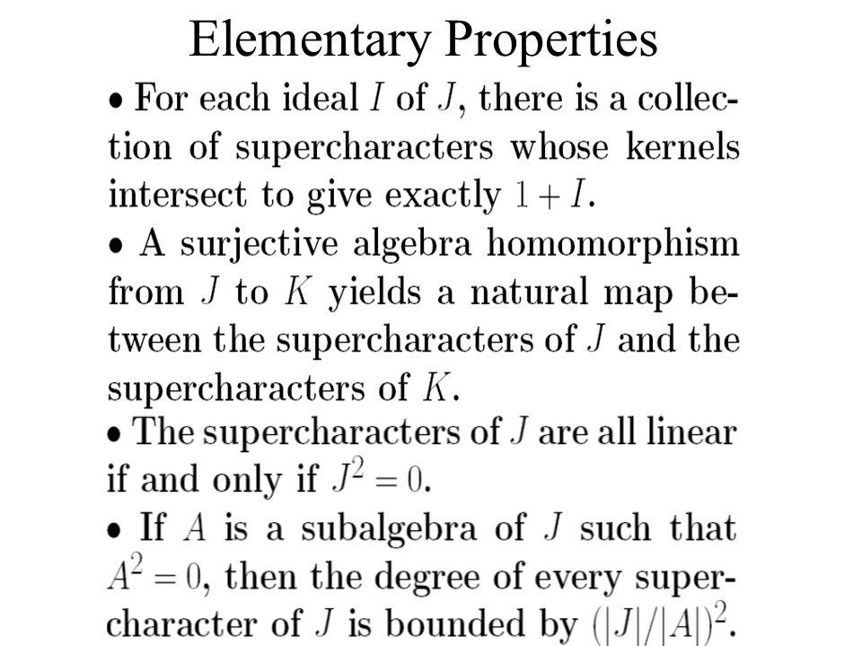 Elementary Properties