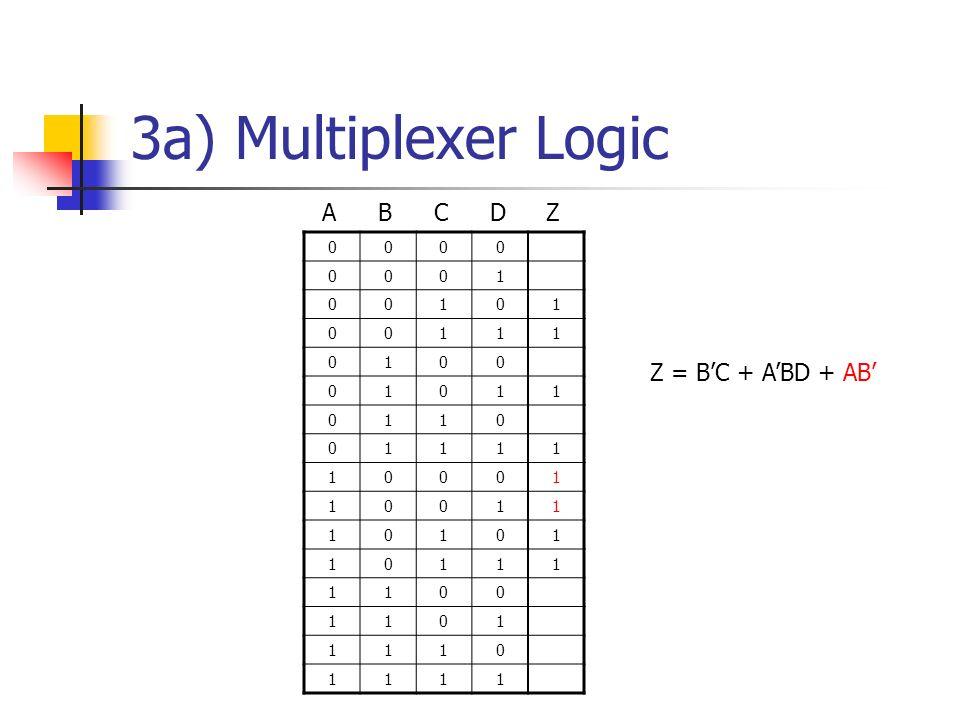 3a) Multiplexer Logic Z = BC + ABD + AB 0000 0001 00101 00111 0100 01011 0110 01111 10001 10011 10101 10111 1100 1101 1110 1111 ABCDZ