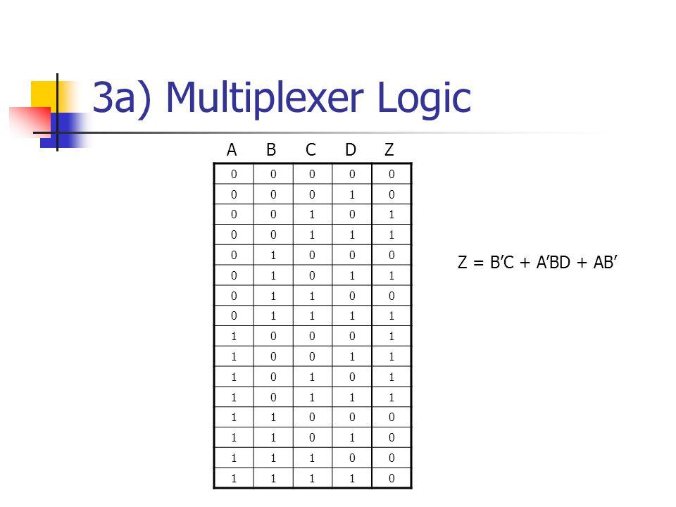 3a) Multiplexer Logic Z = BC + ABD + AB 00000 00010 00101 00111 01000 01011 01100 01111 10001 10011 10101 10111 11000 11010 11100 11110 ABCDZ