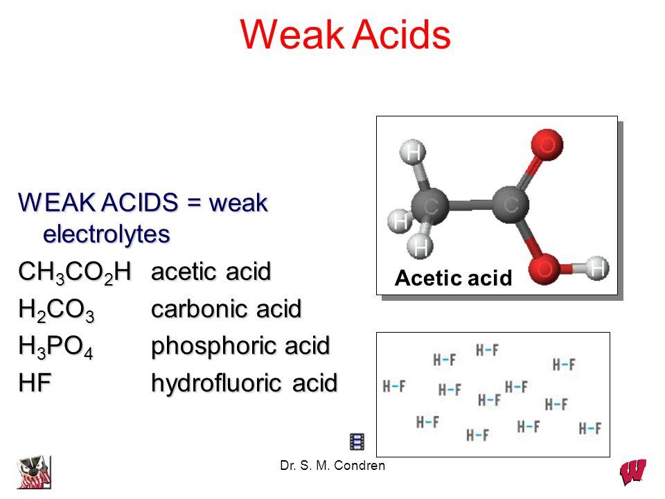 Dr. S. M. Condren WEAK ACIDS = weak electrolytes CH 3 CO 2 Hacetic acid H 2 CO 3 carbonic acid H 3 PO 4 phosphoric acid HFhydrofluoric acid Acetic aci
