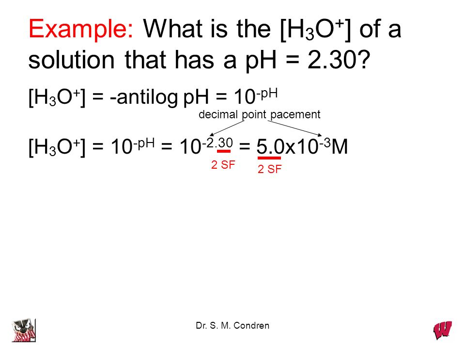 Dr. S. M. Condren Example: What is the [H 3 O + ] of a solution that has a pH = 2.30.