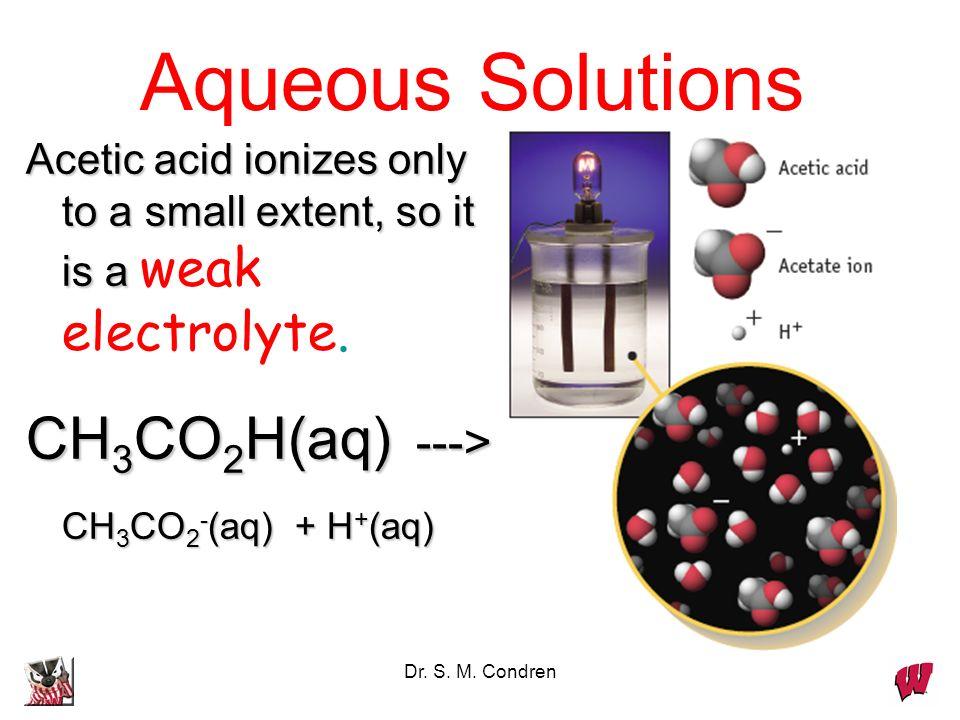 Dr. S. M. Condren Aqueous Solutions Acetic acid ionizes only to a small extent, so it is a Acetic acid ionizes only to a small extent, so it is a weak