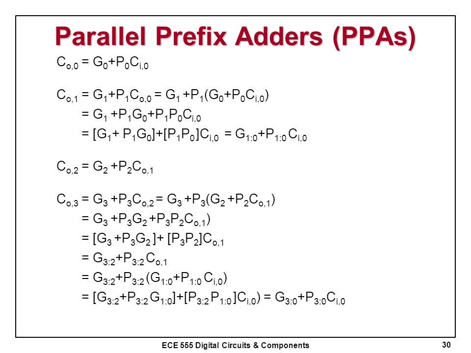 ECE 555 Digital Circuits & Components Parallel Prefix Adders (PPAs) 30 C o,0 = G 0 +P 0 C i,0 C o,1 = G 1 +P 1 C o,0 = G 1 +P 1 (G 0 +P 0 C i,0 ) = G