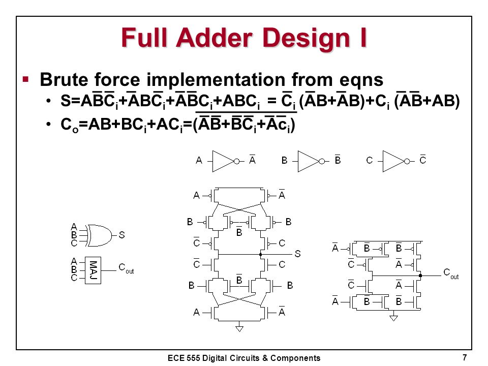 ECE 555 Digital Circuits & Components Full Adder Design II Factor S in terms of C o S = ABC i + (A + B + C i )(~C o ) Critical path is usually C i to C o in ripple adder 8 B BB BB B B B A A A A A A A A CiCi CiCi CiCi CiCi CiCi !C o !S 44 44 4 8 888 8 222 3 3 3 6 6 6 444 4 2 CoCo S