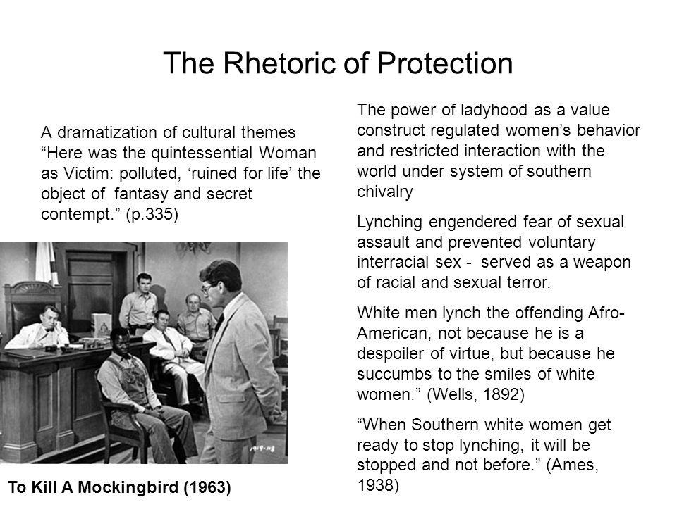 The Rhetoric of Protection A dramatization of cultural themes Here was the quintessential Woman as Victim: polluted, ruined for life the object of fantasy and secret contempt.