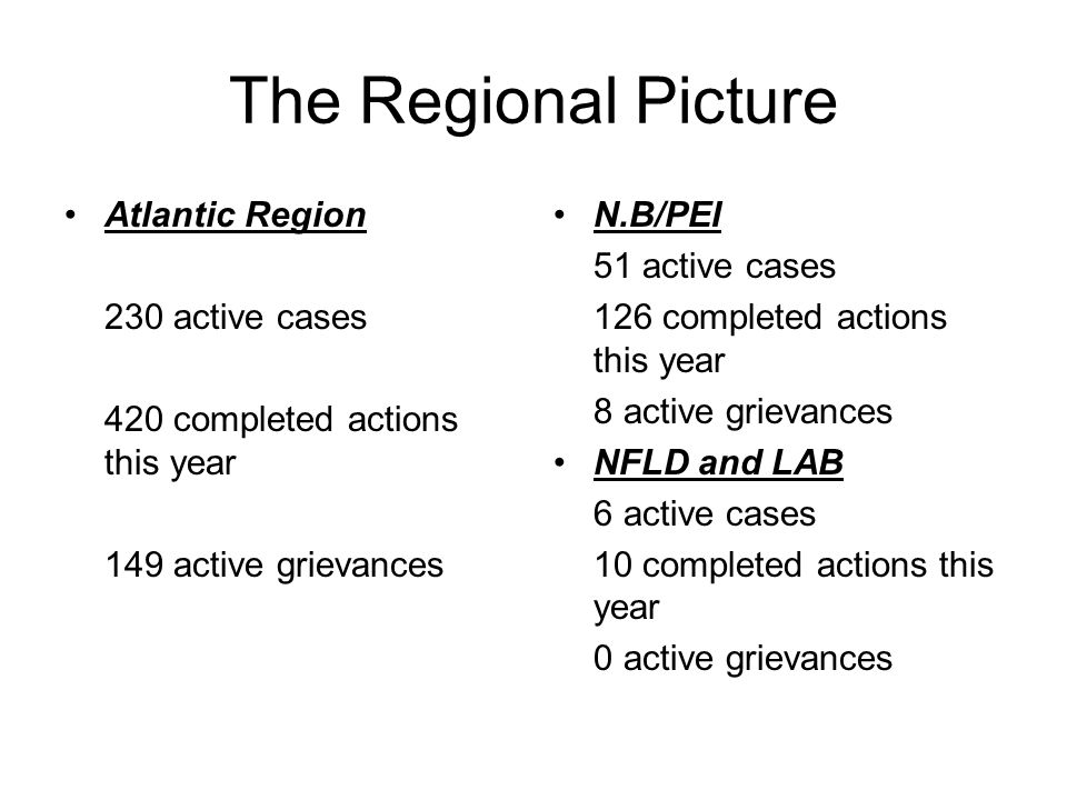 The Regional Picture Atlantic Region 230 active cases 420 completed actions this year 149 active grievances N.B/PEI 51 active cases 126 completed acti
