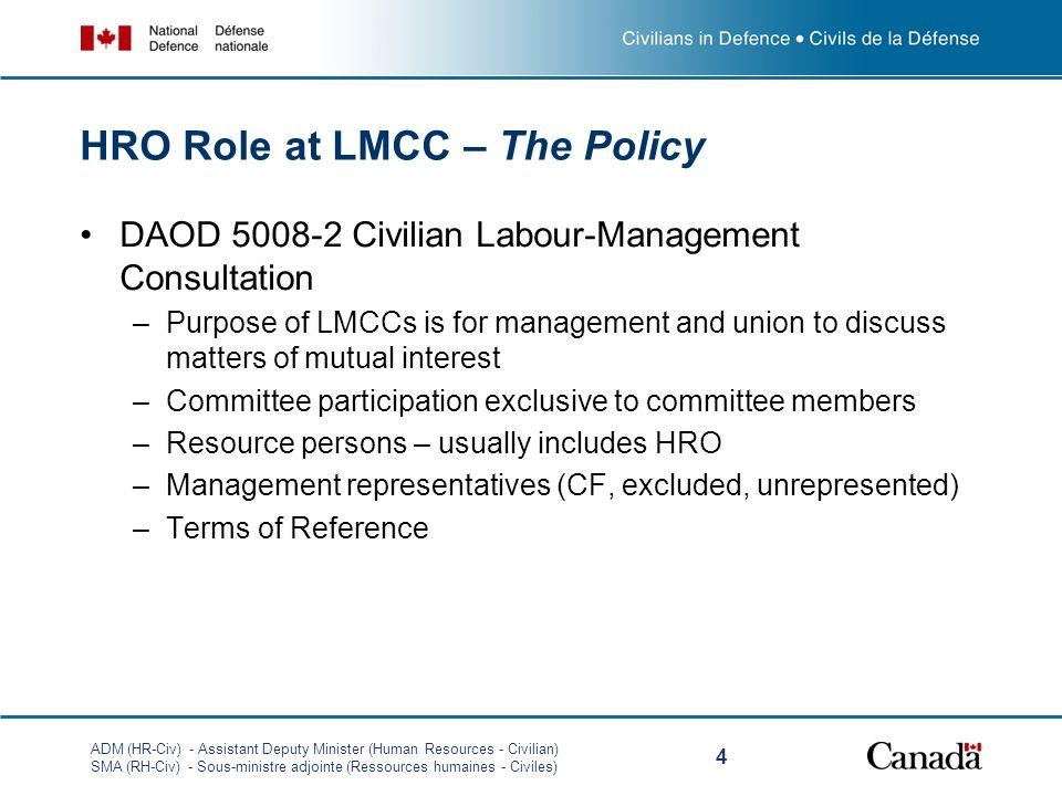 ADM (HR-Civ) - Assistant Deputy Minister (Human Resources - Civilian) SMA (RH-Civ) - Sous-ministre adjointe (Ressources humaines - Civiles) 4 HRO Role