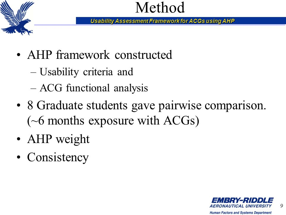 Usability Assessment Framework for ACGs using AHP 10 Analytical Hierarchy Process 3 Main steps –Establish a hierarchy –Calculate pair-wise comparison weights –Check for consistency –Apply weights to gathered data (objective/subjective) Process can be Automated using Expert Choice –http://www.expertchoice.com/