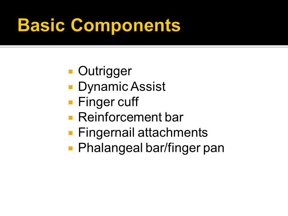 Outrigger Dynamic Assist Finger cuff Reinforcement bar Fingernail attachments Phalangeal bar/finger pan