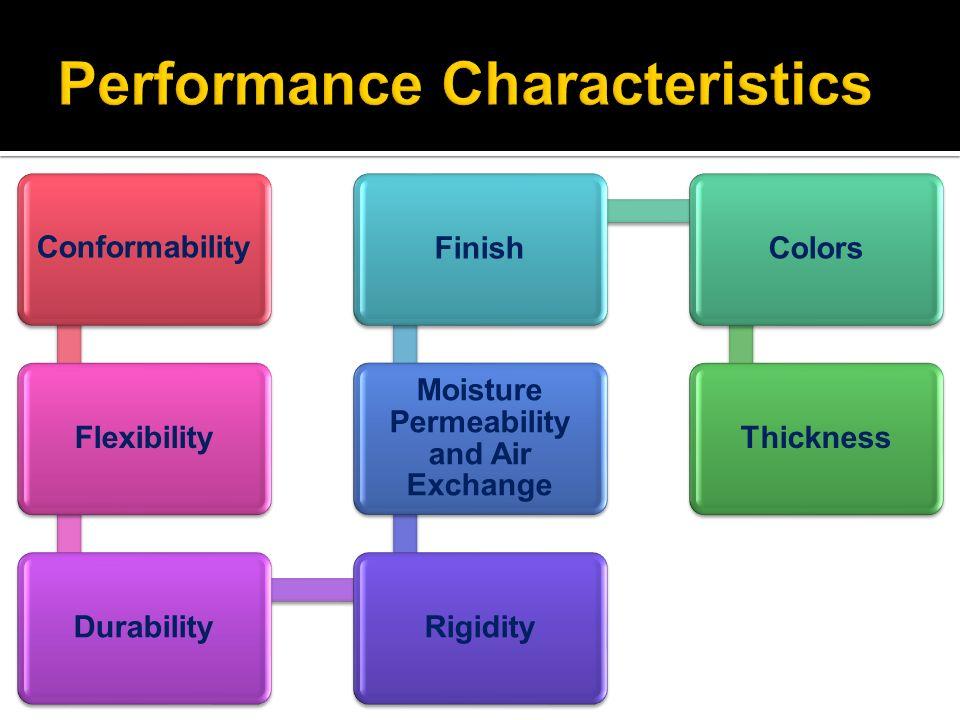 ConformabilityFlexibilityDurabilityRigidity Moisture Permeability and Air Exchange FinishColorsThickness