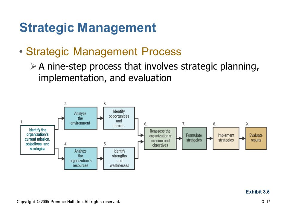 Copyright © 2005 Prentice Hall, Inc. All rights reserved.3–17 Strategic Management Strategic Management Process A nine-step process that involves stra