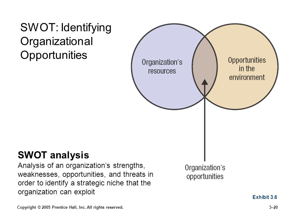 Copyright © 2005 Prentice Hall, Inc. All rights reserved.3–20 SWOT: Identifying Organizational Opportunities SWOT analysis Analysis of an organization