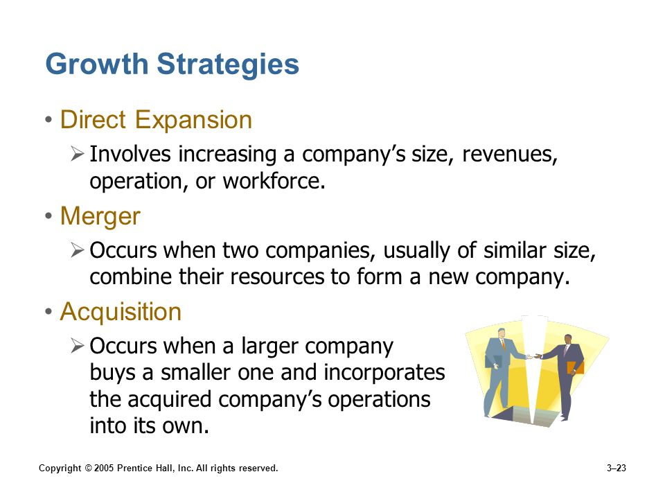 Copyright © 2005 Prentice Hall, Inc. All rights reserved.3–23 Growth Strategies Direct Expansion Involves increasing a companys size, revenues, operat