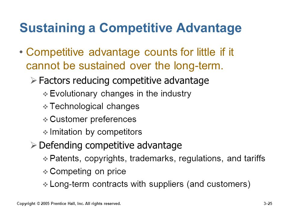 Copyright © 2005 Prentice Hall, Inc. All rights reserved.3–25 Sustaining a Competitive Advantage Competitive advantage counts for little if it cannot