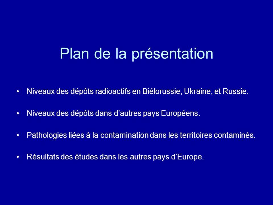 Plan de la présentation Niveaux des dépôts radioactifs en Biélorussie, Ukraine, et Russie. Niveaux des dépôts dans dautres pays Européens. Pathologies