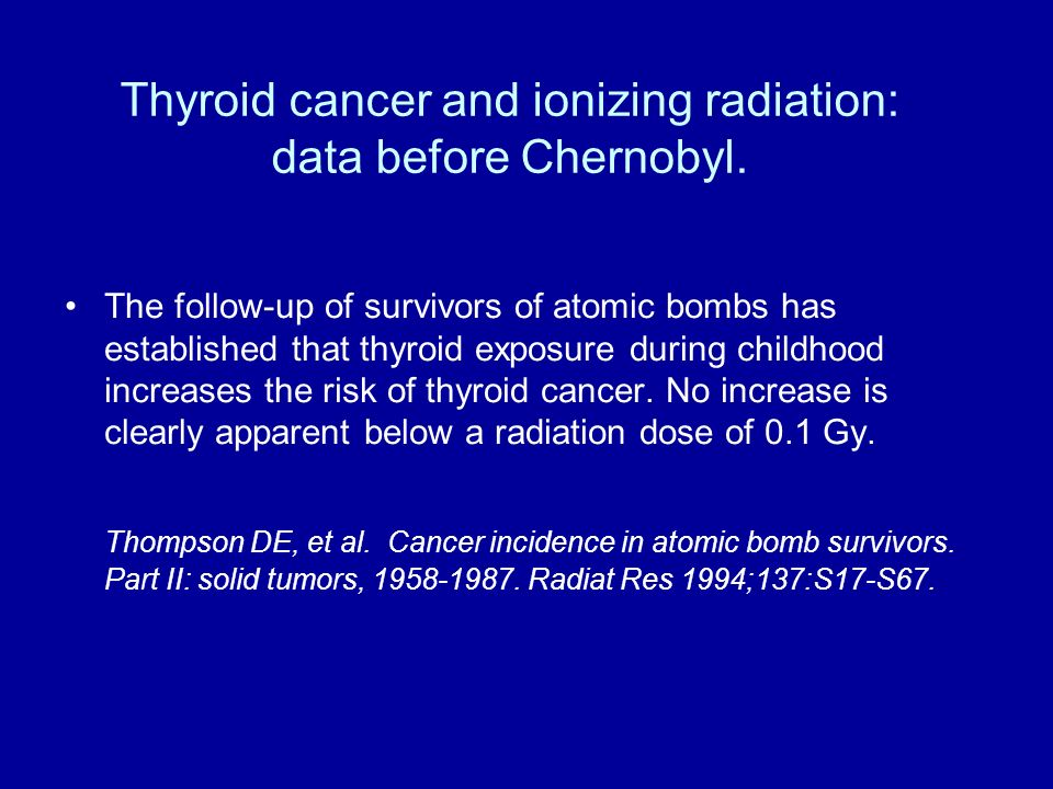 Thyroid cancer and ionizing radiation: data before Chernobyl. The follow-up of survivors of atomic bombs has established that thyroid exposure during