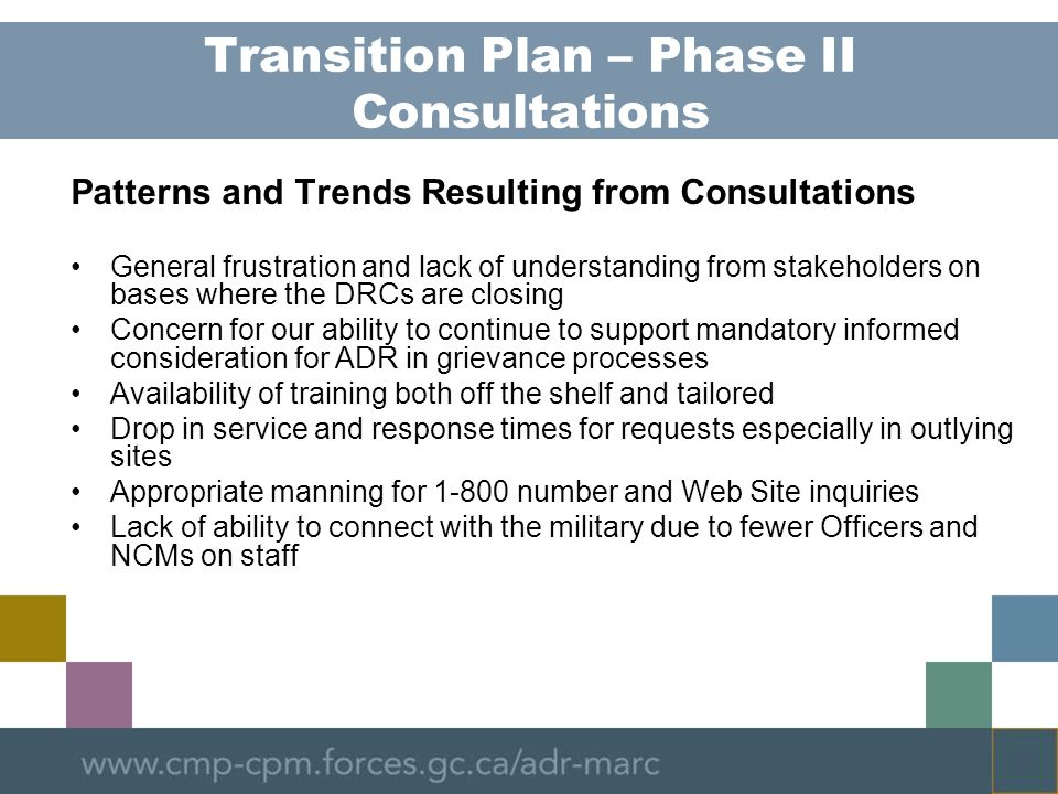 Transition Plan – Phase II Consultations Patterns and Trends Resulting from Consultations General frustration and lack of understanding from stakehold