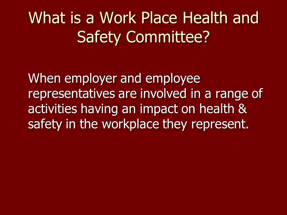 What is a Work Place Health and Safety Committee.