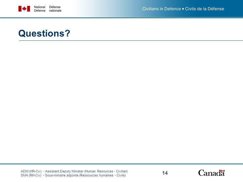 ADM (HR-Civ) - Assistant Deputy Minister (Human Resources - Civilian) SMA (RH-Civ) - Sous-ministre adjointe (Ressources humaines - Civils) 14 Question