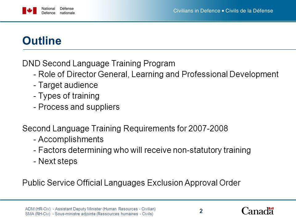 ADM (HR-Civ) - Assistant Deputy Minister (Human Resources - Civilian) SMA (RH-Civ) - Sous-ministre adjointe (Ressources humaines - Civils) 2 DND Secon