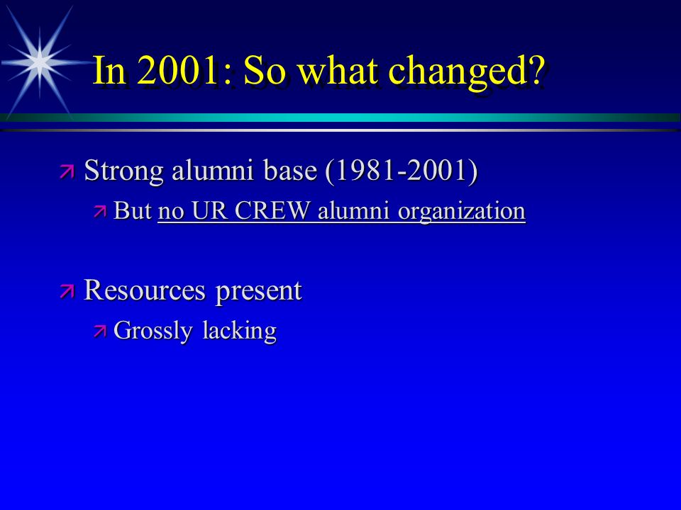 In 2001: So what changed.