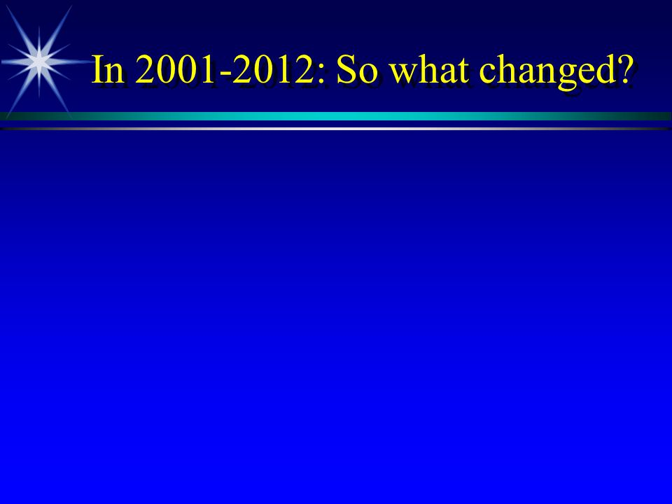 In 2001-2012: So what changed