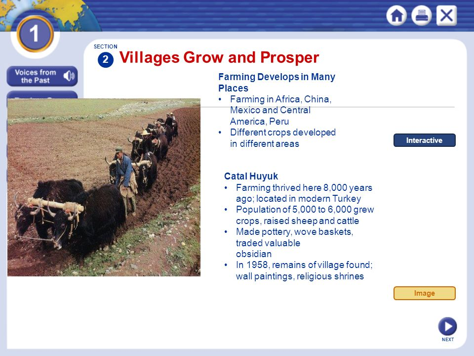 Section 3 Civilization Prosperous farming villages, food surpluses, and new technology lead to the rise of civilizations.