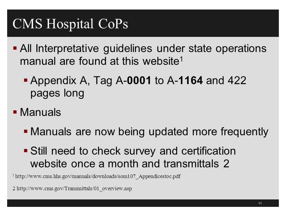 11 All Interpretative guidelines under state operations manual are found at this website 1 Appendix A, Tag A-0001 to A-1164 and 422 pages long Manuals