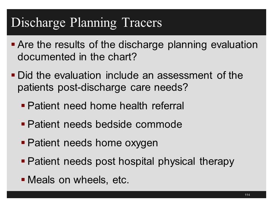 Discharge Planning Tracers Are the results of the discharge planning evaluation documented in the chart? Did the evaluation include an assessment of t