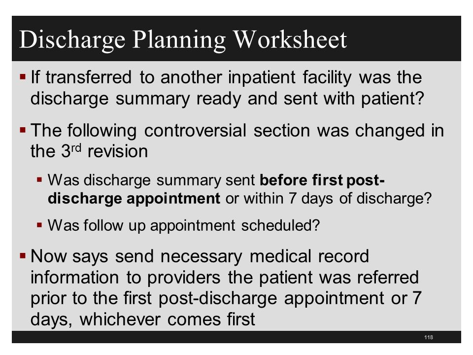 Discharge Planning Worksheet If transferred to another inpatient facility was the discharge summary ready and sent with patient? The following controv